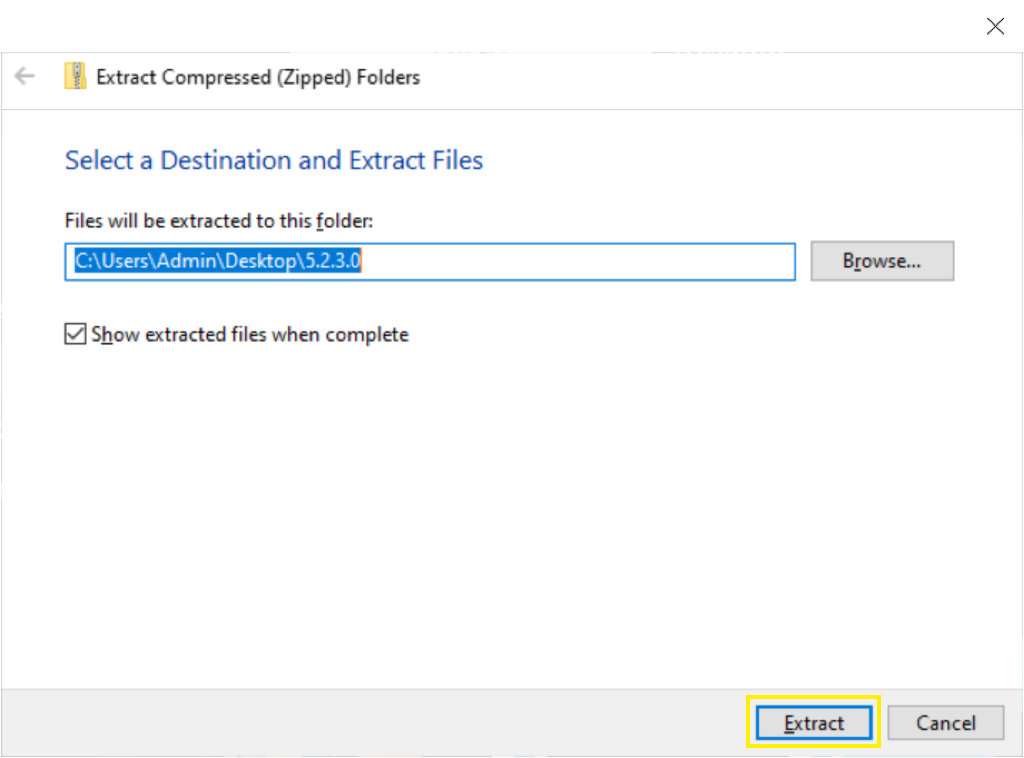 Show extracted files is selected
